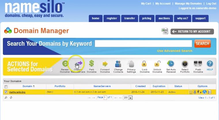 namesilo-change-nameservers