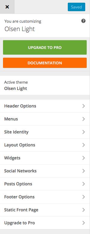 Olsen Light: Customizer
