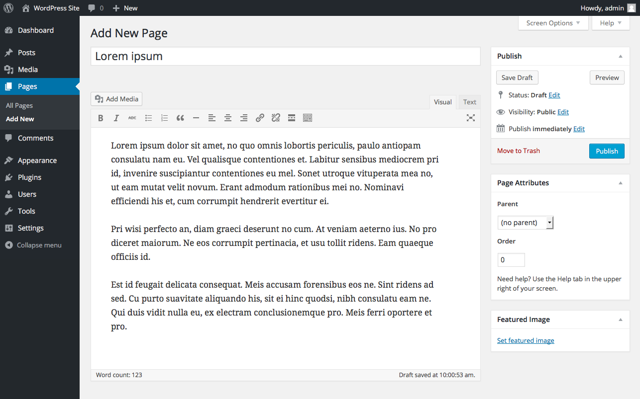 wordpress-site-add-new-page