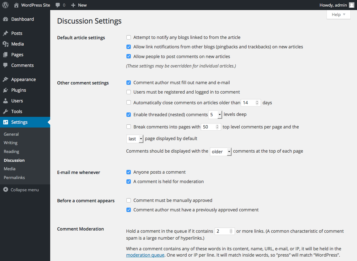 wordpress-site-discussion-settings