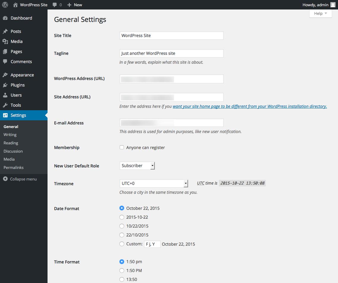 wordpress-site-general-settings