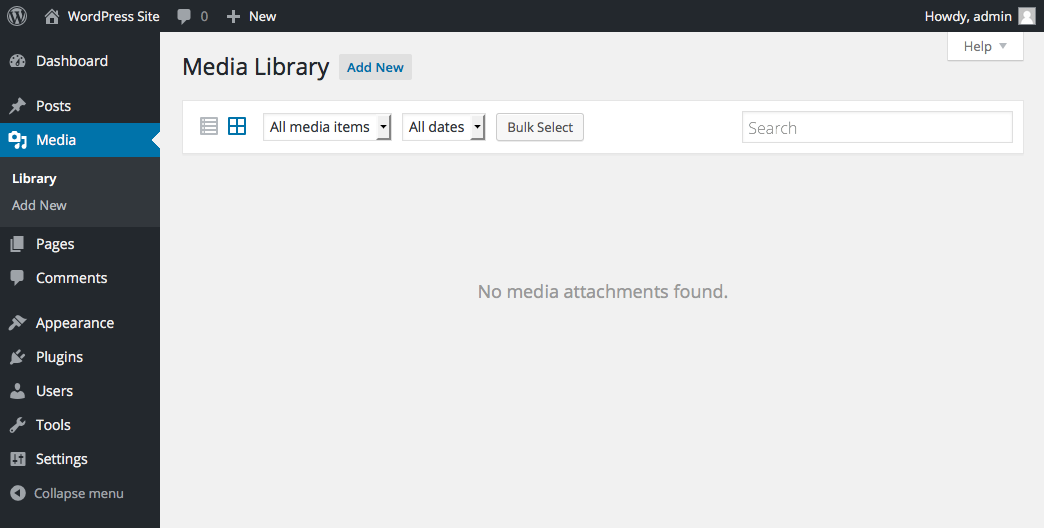 wordpress-site-media-media-library-empty
