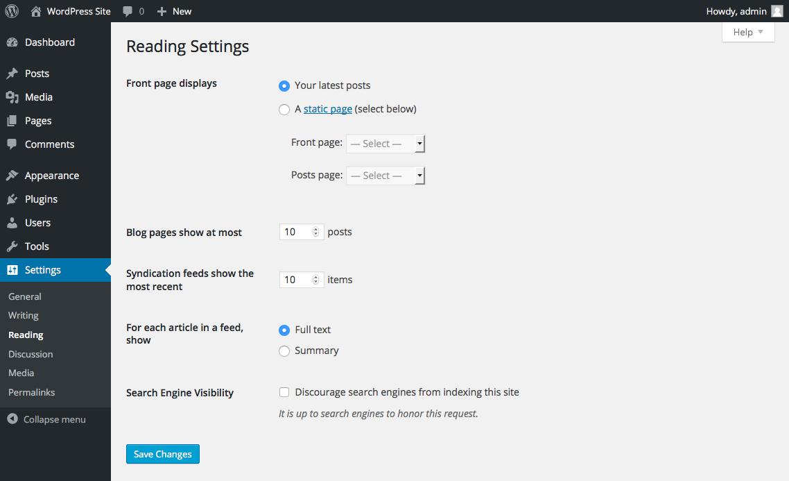 wordpress-site-reading-settings