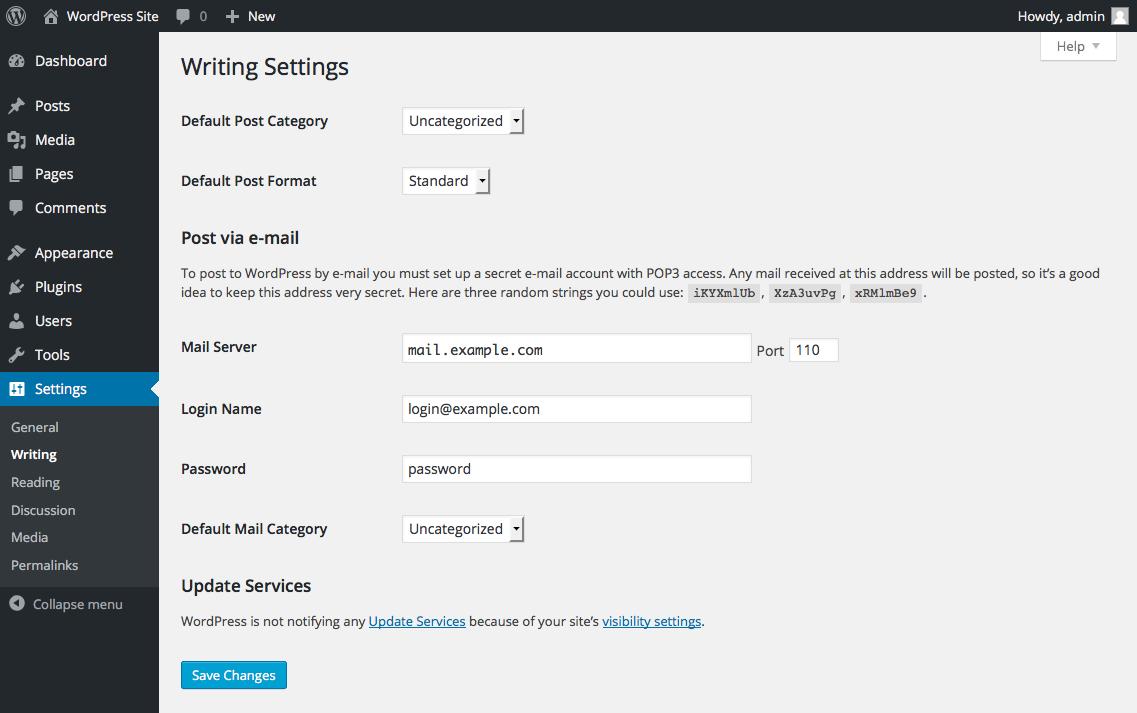 wordpress-site-writing-settings