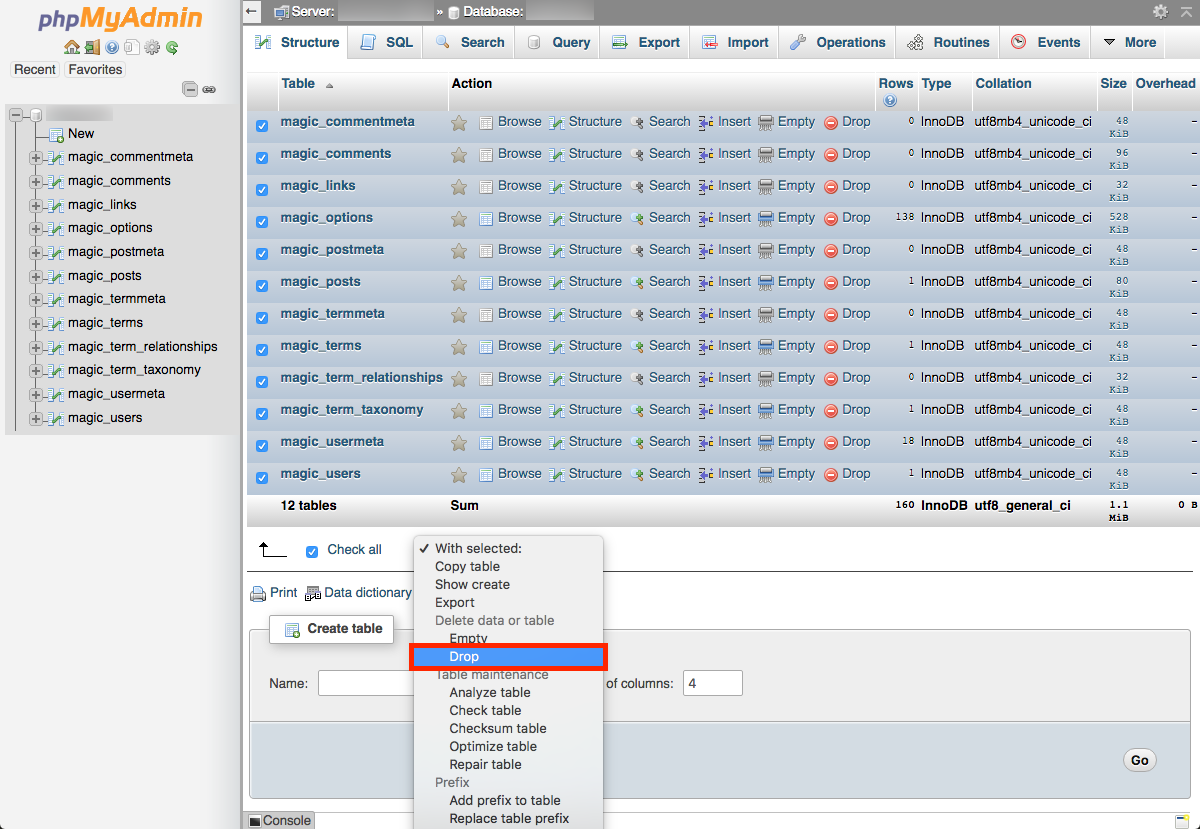 phpmyadmin-database-drop-tables